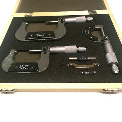 3pc External Metric Micrometer Set. Outer Micrometrs measures 0 to 75mm