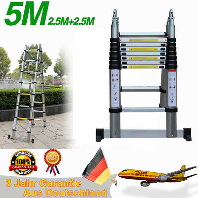 16.4ft Telescoping Ladder Aluminum Telescopic Extension Home Step Ladders 150KG