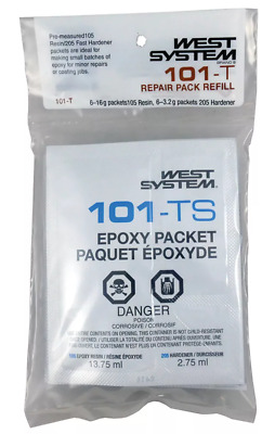 West System's Boat Marine Epoxy Resin & Hardener Repair Pack Refill 6 Packets