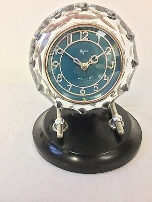 Vintage 1970s Majak Soviet Russian 8 day Blue Glass Mantle Clock Wind up Working