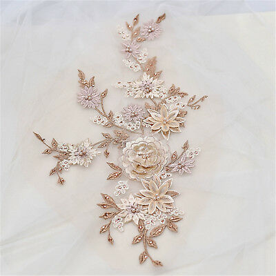 Bridal Embroidery Lace Applique Floral Wedding Motif Beaded DIY Sewing Trim 1 PC