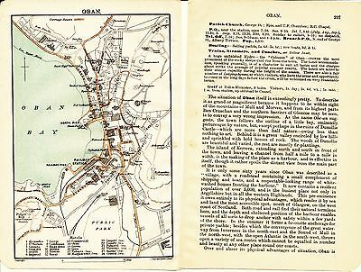 Oban 1908 orig. city map + guide (6 p.) Pulpit-Hill hydropathic 24 hotels Lodge
