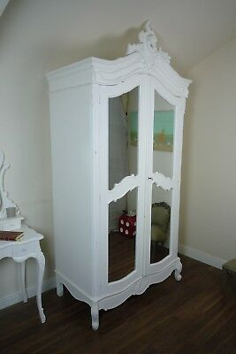 Rococo Double Armoire French Style Wardrobe In White - Double Mirrored Wardrobe