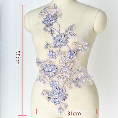 Floral Wedding Motif Bridal Embroidery Lace Applique Beaded DIY Sewing Trim 1 PC