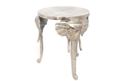 Antique Silver Metal Elephant Leg Asian Indian Style Side End Lamp Table Swf2198