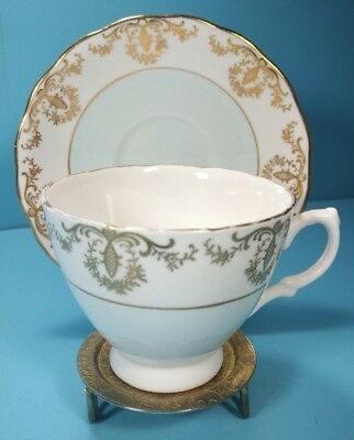 Royal Vale Tea Cup & Saucer, White Blue Gold, Bone China, Made in England