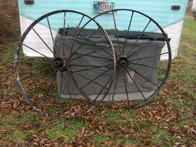 """Antique Steel Spoked Wagon Implement Wheels Cast Iron Hub Horse Drawn Rustic 48"""""""