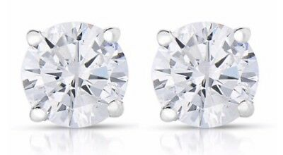 WHITE GOLD 1/4 cttw Round Diamond Stud Earrings 14K W