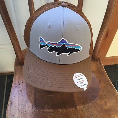 9a6e94c45d0 Patagonia Fitz Roy Trout Trucker Hat - New With Tags - Drifter Grey w   Coriander