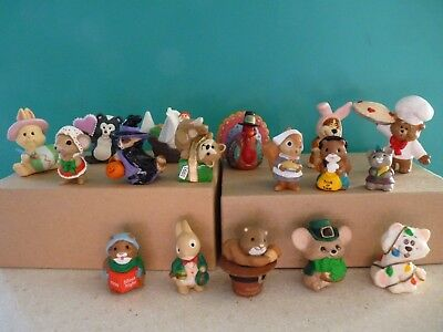 Mixed Lot of (17) Hallmark Merry Miniatures 1980's 90's Animal Figures