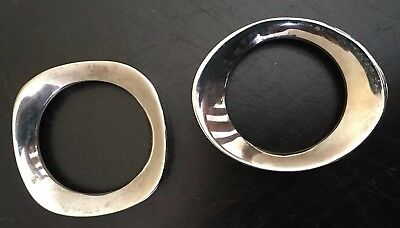 Mid Century Modern Sculptural Napkin Rings 2 Silver Plated Heavy Weight Atomic