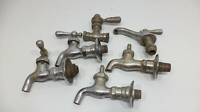 Vintage Lot of 6Sink Tub Faucet Handles Chromed Brass HOT & COLD HANDLES Used
