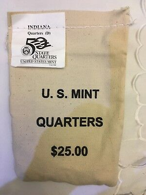 2002-D State Quarters - INDIANA - $25 U.S. MINT SEWN BAG