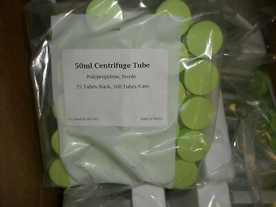 500 Centrifuge Tubes 50Ml Sterile Polypropylene - Flat Bottom Screw Top