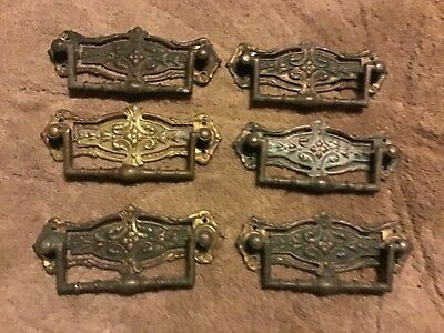 Edwardian handles  CHEST OF DRAWERS Handles. X 6 old brass FREE POST