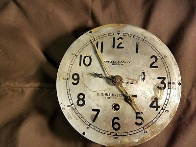 """Circa 1942 Chelsea Clock Co U. S.  Maritime Commission Ships Clock with 6"""" Dial"""