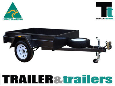 8x5 SINGLE AXLE DOMESTIC HEAVY DUTY BOX TRAILER | FIXED FRONT | SPARE WHEEL