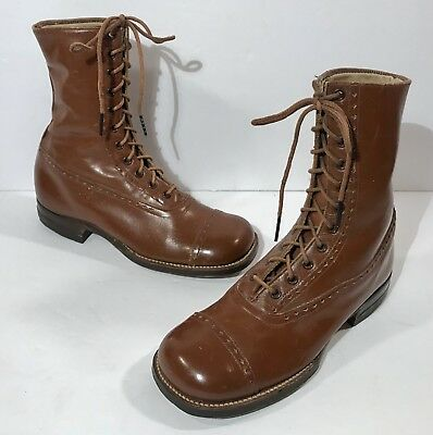 Antique Brown Leather Lace Up Boots - Children's / Young Men's Shoes