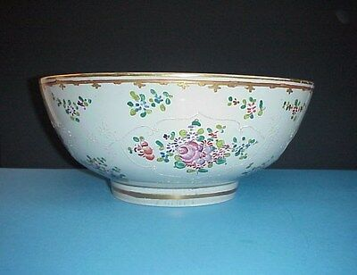 Edme Samson Paris Porcelain Punch Bowl Famille Rose Antique