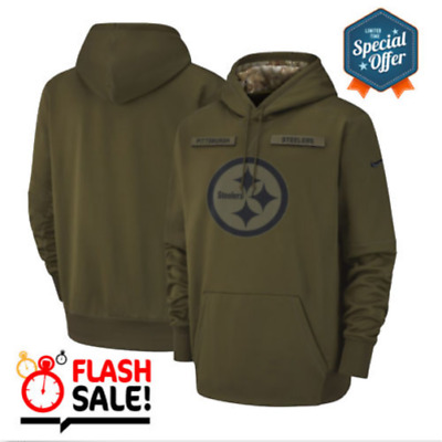 Men s Pittsburgh Steelers Olive Salute to Service Sideline Therma Hoodie  2019 1e79e1aa6
