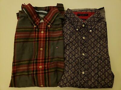 2 Tommy Hilfiger button down short sleeve & long sleeve. 1 purple 1multicolor XL