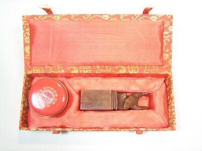 Chinese Year-of-The Rooster Stone Ink Seal Chop Stamp in Box