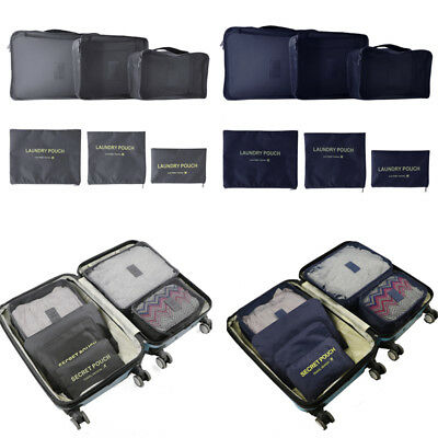 6 Set Waterproof Travel Clothes Storage Bag Luggage Organizer Pouch Packing Cube