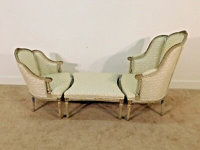 ANTIQUE French Louis XVI 3-Part Duchesse Chaise Lounge Longue Settee c. 1870