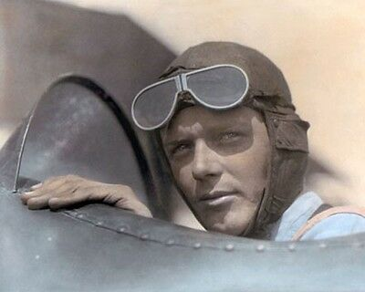 """CHARLES LINDBERGH 1923 AVIATION PIONEER 8x10"""" HAND COLOR TINTED PHOTOGRAPH"""
