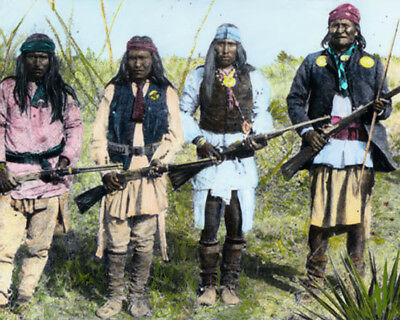 """GERONIMO & WARRIORS NATIVE AMERICAN INDIANS 8x10"""" HAND COLOR TINTED PHOTOGRAPH"""
