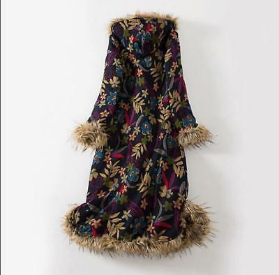 Womens Floral  Hot Sale Hooded Coat Cotton-padded Faux Fur Long Parka Thicken