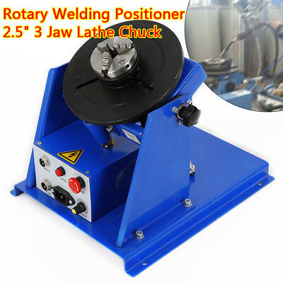 """10KG Table Rotary Welding Positioner Turntable Mini 2.5"""" 3 Jaw Lathe Chuck 220V"""