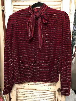 Vintage French Red & Gold Top With Bow