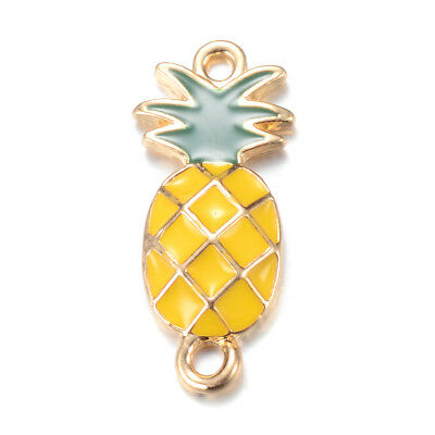 10pc Alloy Enamel Pineapple Charm Connectors 1/1 Loop Light Gold Findings 26.5mm