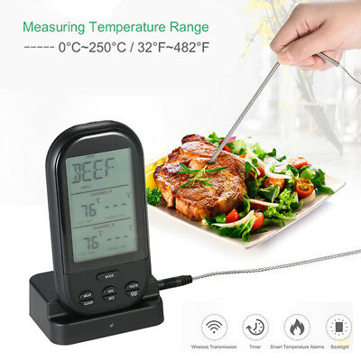 Wireless LCD Remote Thermometer For BBQ Meat Cooking Oven Tool Waterproof