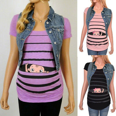 2d99545ac54e8 Maternity Cute Funny Baby Boys Print Striped Short Sleeve T-shirt Pregnant  Tops