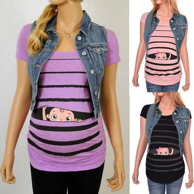Maternity Cute Funny Baby Daily Print Striped Short Sleeve T-shirt Pregnant Tops