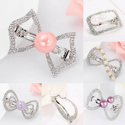 Ladies Girls Crystal Hair Clips Rhinestone Hairpin Bead Pins Barrettes