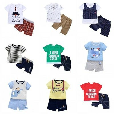 Baby Kids Boys Toddler Summer Clothes Set Short Sleeve Tops+Short Pants Outfits