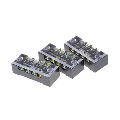 3Pcs TB-1504 4 Positions Dual Rows Covered Screw Terminal Block 600V 15A  new