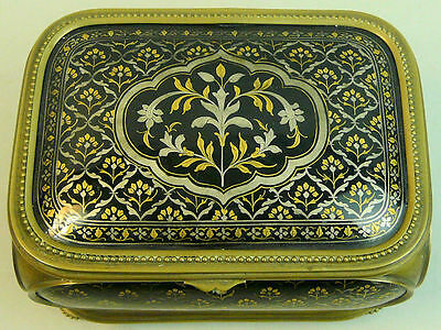 A Good Quality Victorian Antique Enamel & Brass Trinket Jewellery Box C.1870