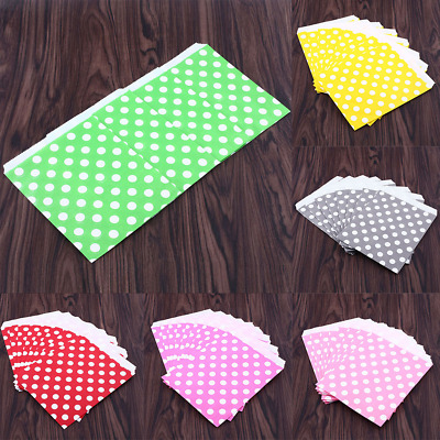 B486 25X Polka Dot Birthday Sweet Candy Favour Popcorn Gift Paper Party Bags 6Co