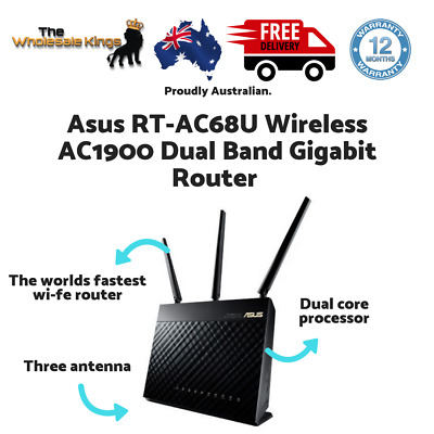 Asus RT-AC68U Wireless AC1900 Dual Band Gigabit Router with 3 Antennas - Black