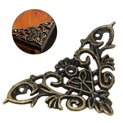 Vintage Decorative Antique Brass Jewelry Gift Box Wooden Corner Protector Guard