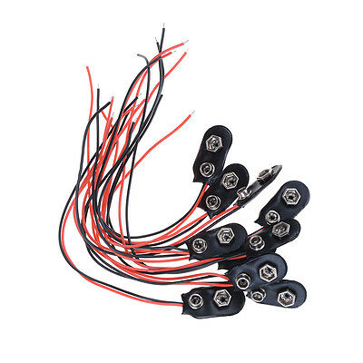 10X Black Red Cable Connection 9V Battery Clips Connector Buckle 15cm Durable _U