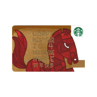 Lot of 5 New Year (2014) Year of the Horse Happy New Year Starbucks Gift Cards