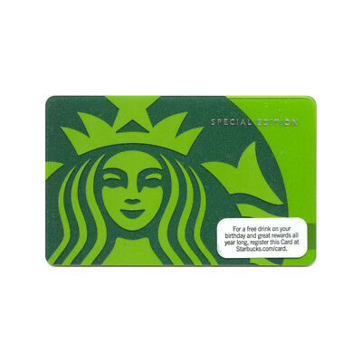 Lot of 2 Green 40th Anniversary (2011) Special Edition Starbucks Gift Card