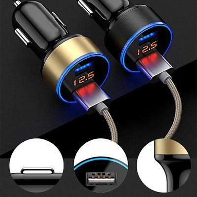 AU Dual USB 12V-24V Car Fast Charger Adapter LED Display Fast Charging For Phone