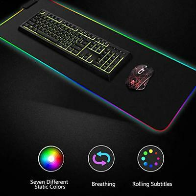 Large RGB Colorful LED Lighting Gaming Mouse Pad Mat for PC Laptop 78*30CM