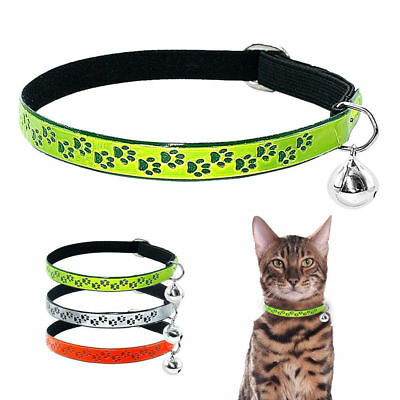 Pet Dog Puppy Glossy Reflective Collar Safety Buckle With Bell Cat Kitten Collar